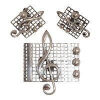 Renoir Sauteur G-Clef Sterling 925 Pin Earrings Vintage