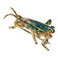 Plique-a-Jour 18 karat Gold Diamond Grasshopper Pin Brooch Vintage