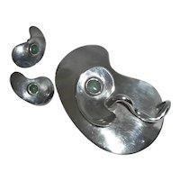 Sam Kramer Sterling Jade Modernist Pin Earrings
