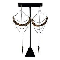 Sterling Bronze  Brass Medieval Boho Earrings Vintage