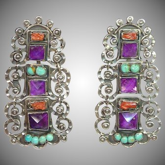 Los Ballesteros Sterling Amethyst Turquoise and Coral Earrings in the Matl Style