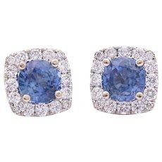 Ceylon Blue Sapphire Earrings in 18k White Gold w/ Diamonds