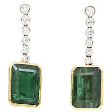 20ct Emerald Earrings in 14k Gold with Diamonds