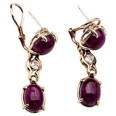 1950s Ruby Earrings in 14k Yellow Gold w/ Diamonds