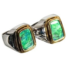Men's Solid Black Opal Rings, Matching Pair