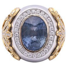 Unheated 11.94ct Blue Sapphire Ring with Diamonds in 18k White/Yellow Gold
