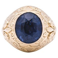 Unheated 14.97ct Blue Sapphire Ring in 18k Gold