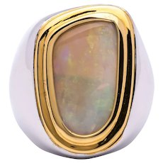 Mens 6.0ct Natural Australian Opal Ring in Sterling Silver w/ Gold Bezel