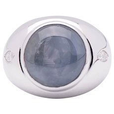 Natural ~18.81ct Star Sapphire Ring in 18k White Gold