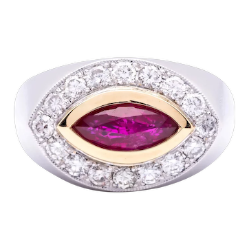 Women's ~1.20 ct Unheated Ruby Ring in 18k Gold with Diamonds
