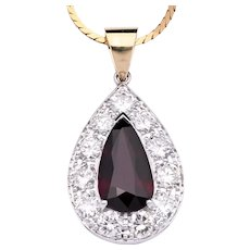 Certified No Heat 3.53 carat Ruby with white diamonds in 18K Gold