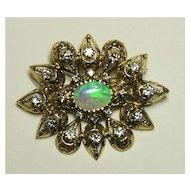 Edwardian Rose Gold and Opal Starburst Brooch