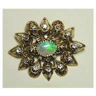 Edwardian Rose Gold and Opal Starburst Brooch