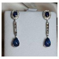 Elegant 9.75 Carat Sapphire and Diamond Dangle Earrings