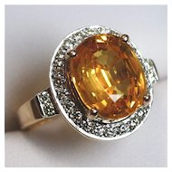 Gondwanaland Gems 7 Carat Golden Sapphire, Diamond Ring