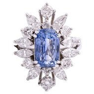 Ladies Estate Ring with 4.29 Carat Blue Sapphire Surrounded by Diamonds set in 18K White Gold