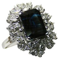 Ladies Unique 14K White Gold Ring/Pendant with 4.44 Carat Sapphire encircled by Diamonds