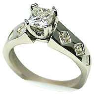 Ladies .82 Carat Diamond Solitaire 14K White Gold Ring with Diamond Accents