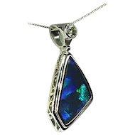 Ladies Lightning Ridge 5.72 Carat Opal 18K White Gold Pendant with Diamond Accent