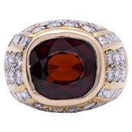 Unisex Vintage 18K Yellow Gold Ring featuring a Large Garnet accented by Diamonds