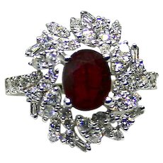 Ladies Natural 1.50 Carat Ruby 18K White Gold Ring surrounded by Diamonds