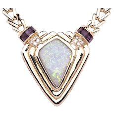 Ladies 14K Yellow Gold Necklace with Centerpiece of Solid Opal accented by Amethysts and Diamonds