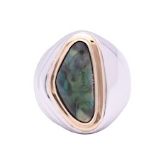 Mens 4.34 Carat Solid Opal set in Sterling Silver and 18K Yellow Gold Ring
