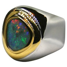 Mens Australian 3.40 Carat Opal in Sterling Silver/18K Yellow Gold Ring