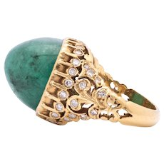 Ladies Vintage 18K Gold Ring featuring a 24.50 Carat Emerald with Diamond Accents