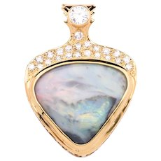 "One of a Kind 12.33 Carat ""Picture"" Opal 18K Yellow Gold Pendant with Diamonds"