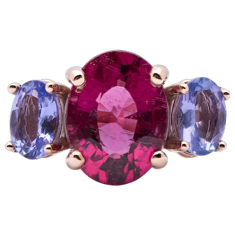 Ladies 3.65 Carat Natural Rubellite Tourmaline 14K Rose Gold Ring with Tanzanites