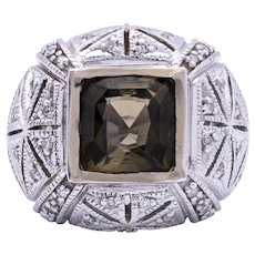 Ladies Estate 5.92 Carat Natural Green Tourmaline 14K White Gold Ring