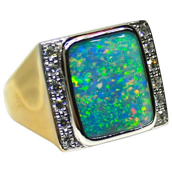 Men's Solid 11.54 Carat Australian Opal Ring set in 18K Gold with Diamond Accents