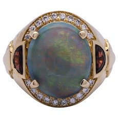Black Opal Ring (~8ct) w/ Garnet & Diamond in 18k Yellow Gold, Size 7.5