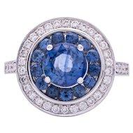 Estate Women's Ceylon Blue Sapphire & Diamond Ring in 18k White Gold