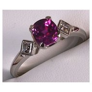 Antique Ladies Platinum ring with gorgeous pink Sapphire and Diamond accents