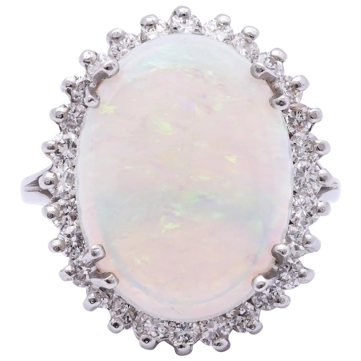 Preferred Ladies Semi-Crystal Solid Opal Ring in 14k White Gold surrounded  ZI79