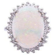 Ladies Semi-Crystal Solid Opal Ring in 14k White Gold surrounded with Diamonds