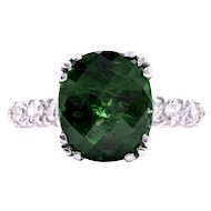 1930's Platinum Ring with a Checkerboard-cut Tsavorite Garnet and Diamond Accents