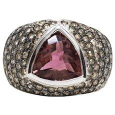 Women's 6ct Pink Tourmaline Ring in 14k White Gold w/ Diamonds
