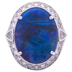 Women's Solid 16.67ct Black Opal Ring in 18k White Gold w/ Diamonds
