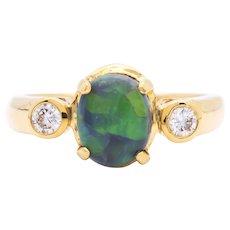 Women's 1.62ct Black Opal Ring in 18k Yellow Gold w/ Diamonds