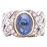 Women's Sapphire and Diamond Ring in Two Tone Gold