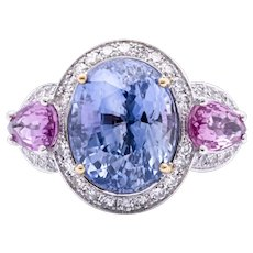 Women's 9.07ct Blue Sapphire Ring w/ 1.64ct Pink Sapphire in 18k White Gold with Diamonds