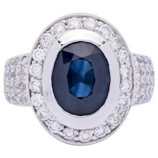 Women's Estate ~8ct Blue Sapphire Ring in 14k White Gold with Diamonds