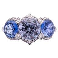 Women's Estate 8.77ct Blue Sapphire Ring in 18k White Gold w/ Diamonds