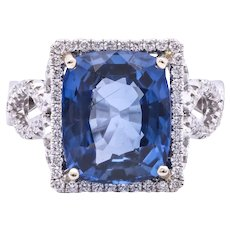 Women's Estate 6.01ct Blue Sapphire 18k White Gold Ring with Diamonds, Edwardian Style