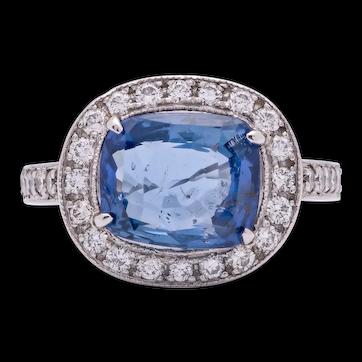 Estate Ladies 3.0 Carat Blue Sapphire Cushion Cut Ring in Platinum with Diamonds