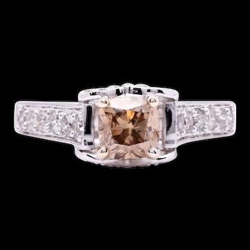 Women's 1.02ct Champagne Diamond Ring in 18k White Gold