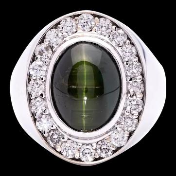 Women's Natural ~8ct Cats Eye Tourmaline Ring in 18k White Gold w/ Diamonds